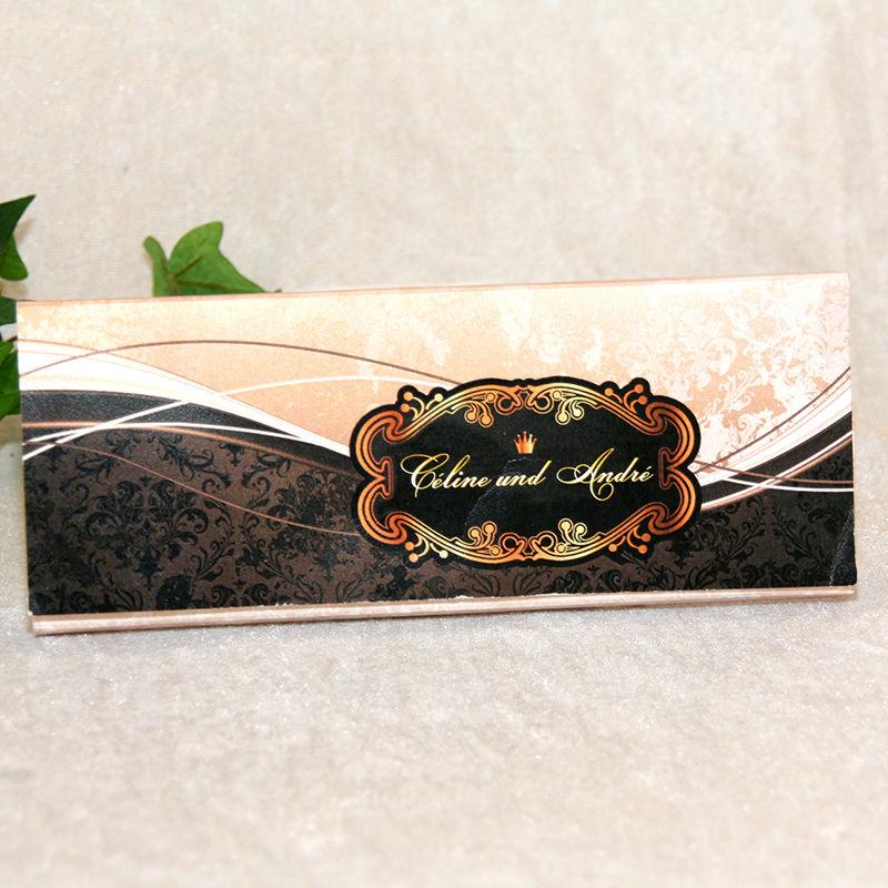 Cela-Design Hochzeitseinladung in Form einer Schokoladentafel (Hülle innen Text Einladung, wird mit Schokoladentafel Ihrer Wahl versendet)