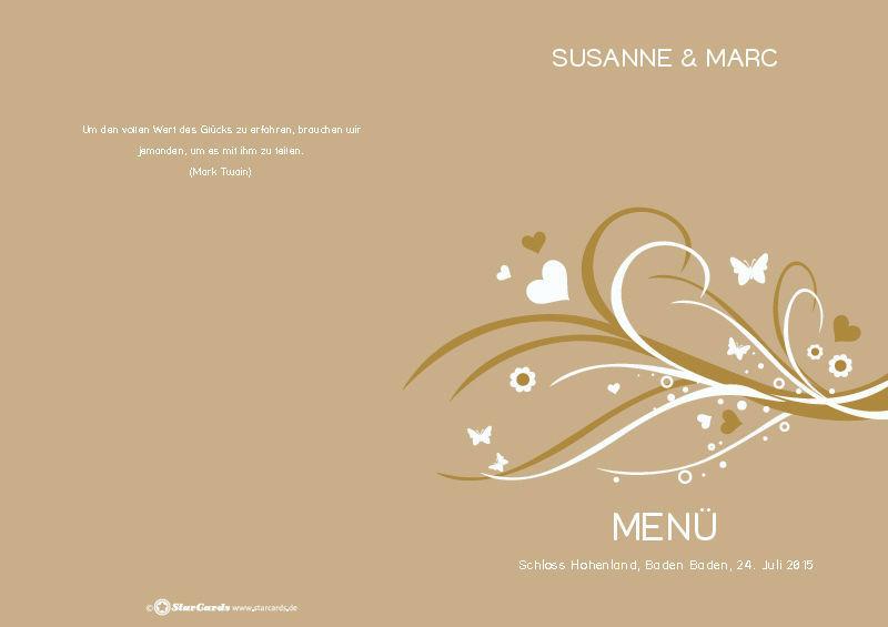 Beispiel: Menükarte Hochzeit, Foto: StarCards.