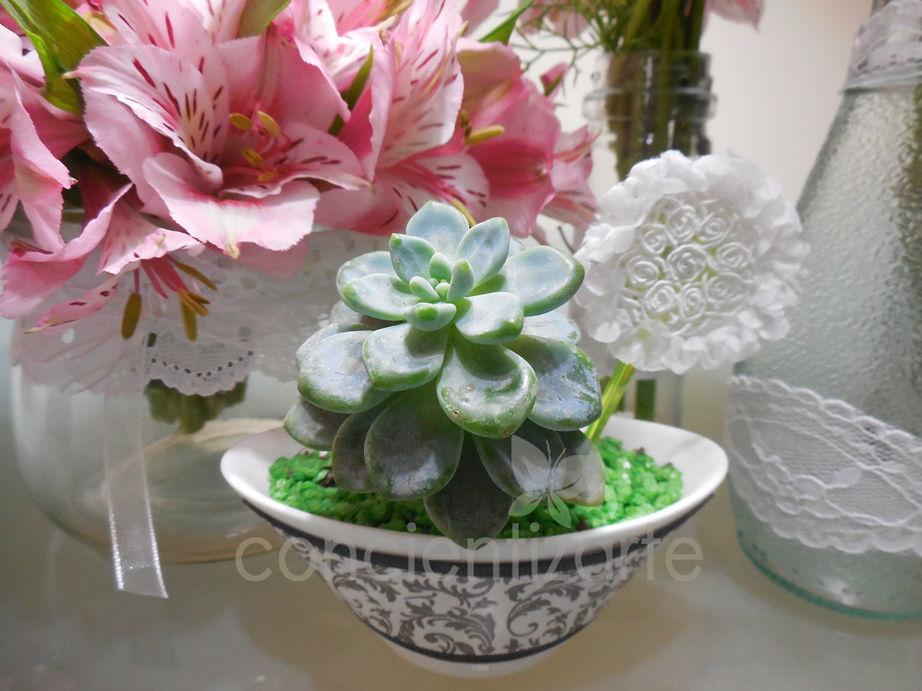 Planta Suculenta en maceta de loza decorada con aplique de blonda y cinta vintage. Recuerdo de boda, shower.