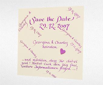 Beispiel: Save-the-Date Karten in Schönschrift, Foto: Event Calligraphy.