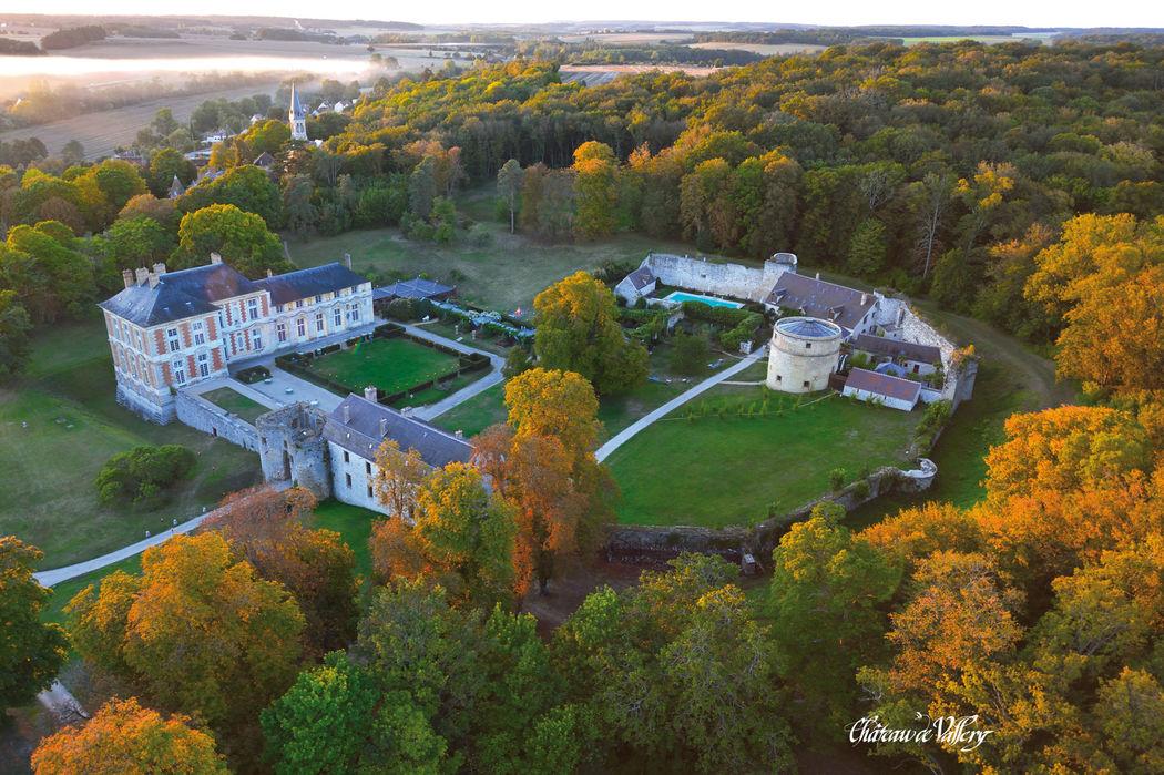 Vue aérienne - Château de Vallery