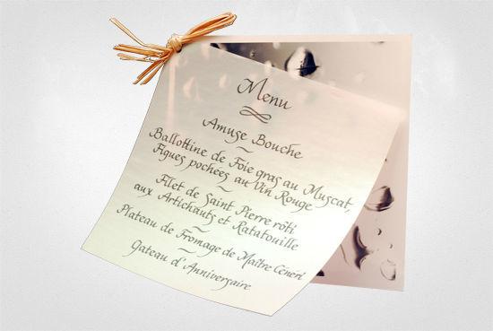 Beispiel: Ihr Hochzeitsmenü in Schönschrift, Foto: Event Calligraphy.
