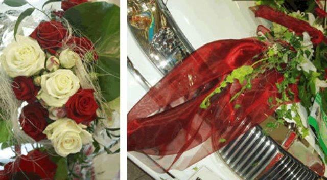 Beispiel: Hochzeitsdekoration - Brautstrauß und Autogesteck in rot, Foto: Hadrigan Blumen Ambiente.