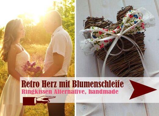 Herz im Vintage Look gebunden - Handmade Ringkissen Alternativen - LoveLi Hochzeitsplanung Onlineshop