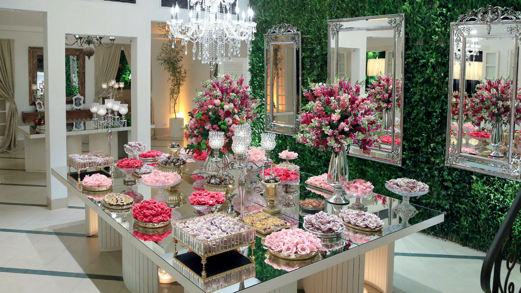 Mesa de doces espelhada