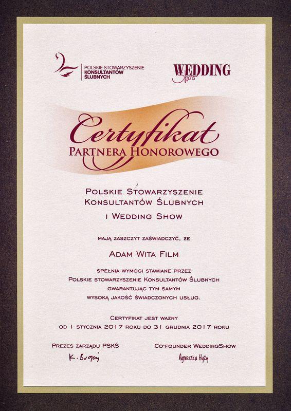 Certyfikat Wedding Show i Pskś