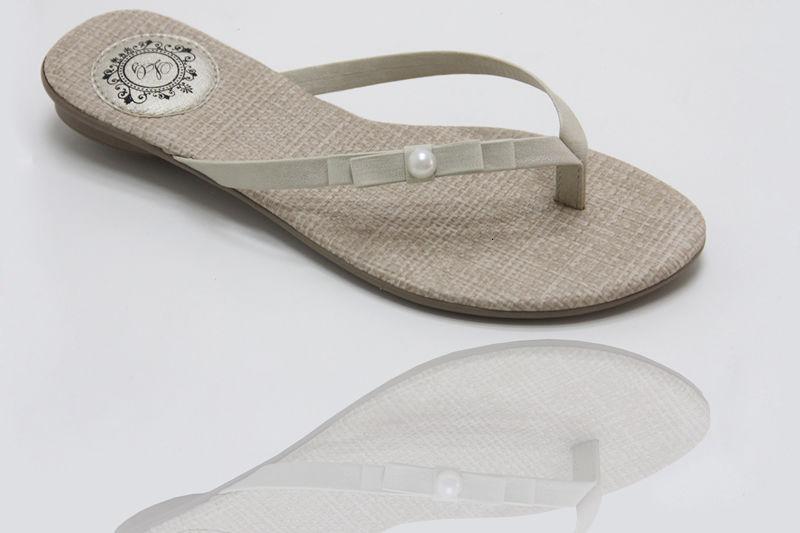 Slim Fashion Palmilha Juta com Laço Chanel Duplo com Pérola