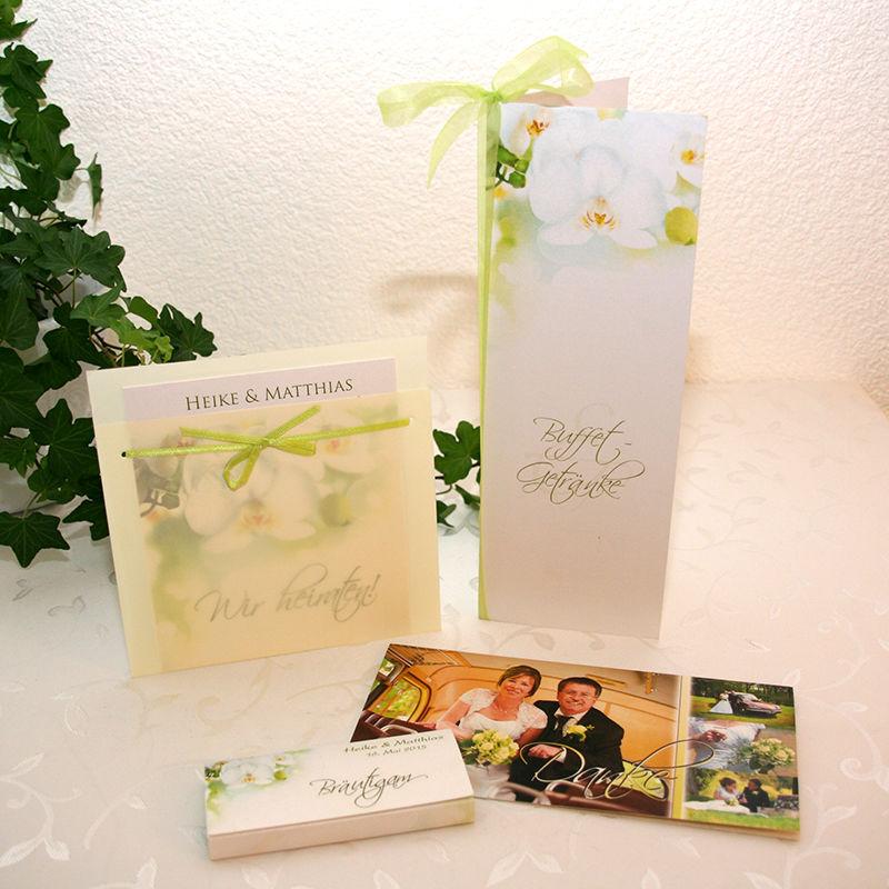 Cela-Design Kartenset weiße Orchidee mit Einladung Buffetkarte, Tischkarte als Mini-Schokoladentafel und Dankeskarte