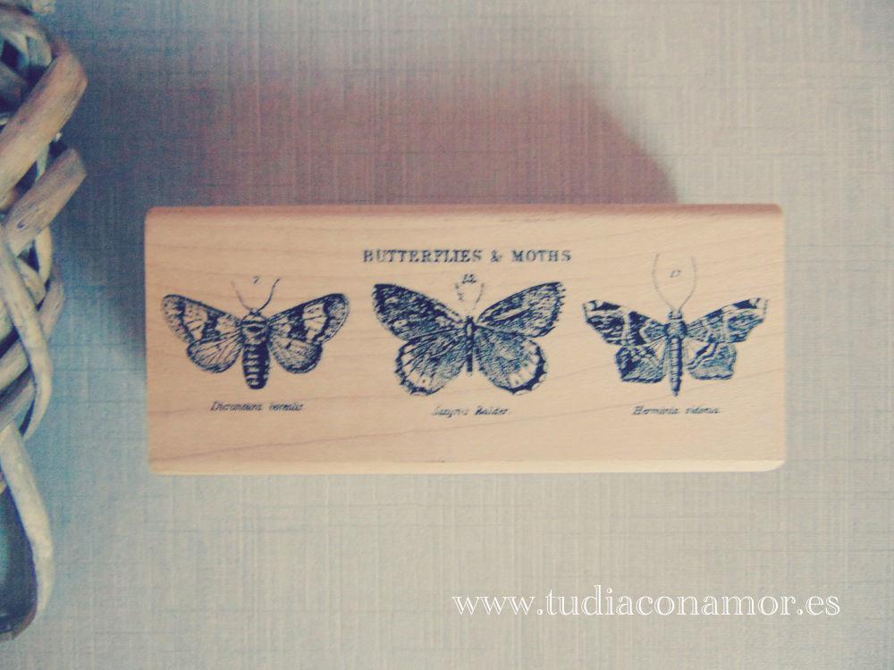 Sello de madera vintage mariposas
