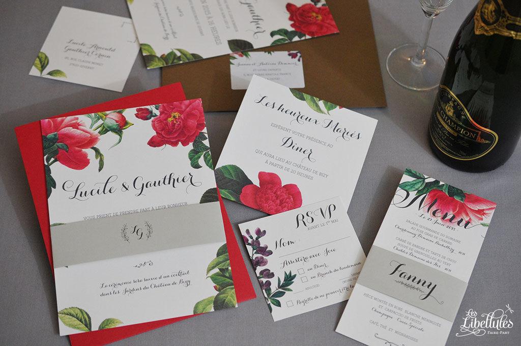 Faire-part Mariage Bagatelle, avec de magnifiques peintures botaniques de fleurs dans les tons rouges. Invitation au dîner, bellyband, carton-réponse et menu assortis. Imprimé sur du magnifique papier de création, enveloppes Pollen de Clairefontaine