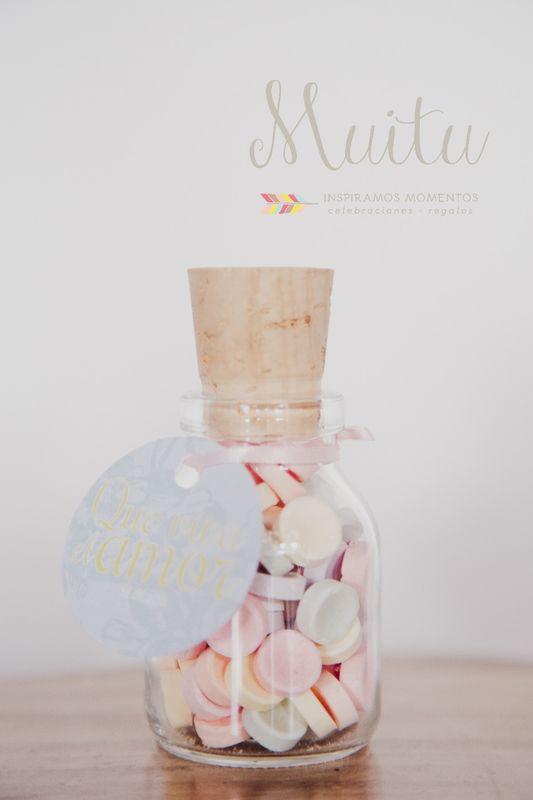 Recordatorios frasco vidrio con pastillitas de colores