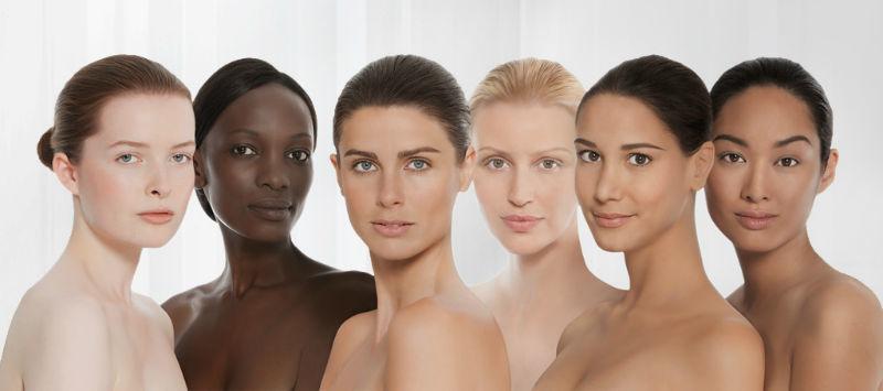 Beispiel: Verschiedene Hautlichttypen, Foto: skin biology center.