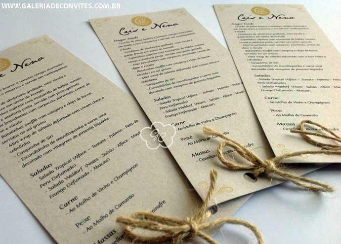 menu de casamento modelo CN
