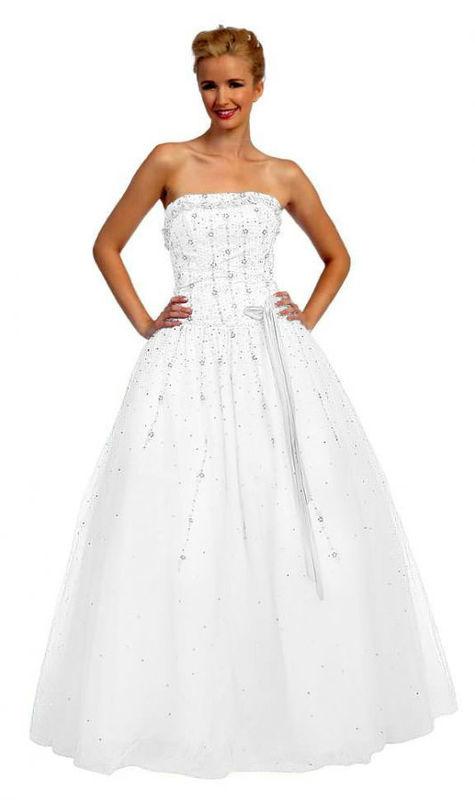 Beispiel: Trägerloses Brautkleid, Foto: Nachtigall & Lerche.