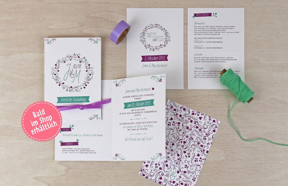 Einladung und Infokarte aus dem Papeterie-Set Blumenranke im floralen Design.