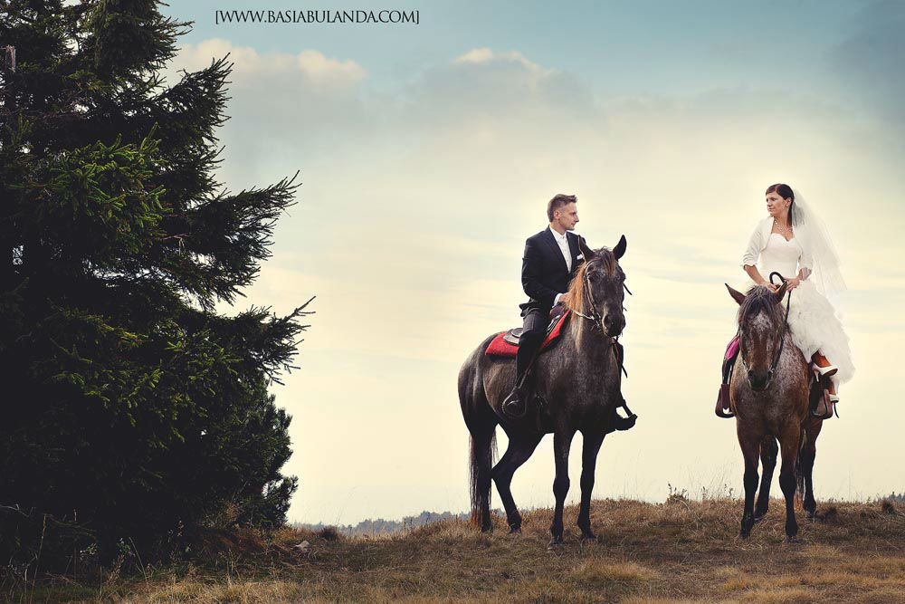 zdjęcia ślubne na koniach