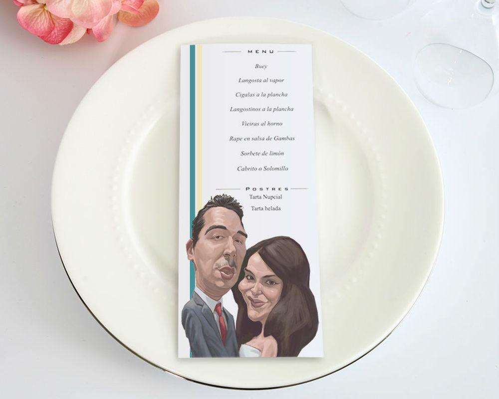 La caricatura de pareja también está en el menú