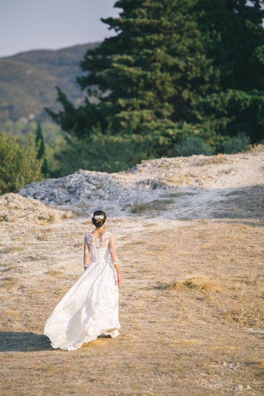 Robe de mariée en soie : bustier sur jupe Chloé et boléro