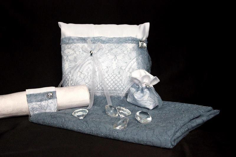 Ensemble mariage blanc et couleur Denim perlé Swarovski