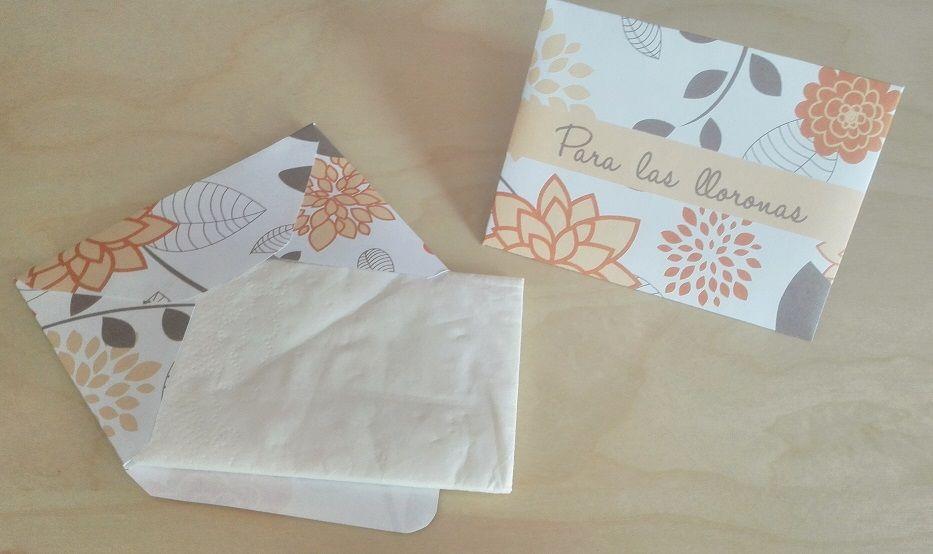 Sobres para Pañuelos Motivo: Flores Color: Naranja y Gris