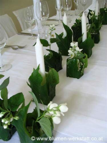 Beispiel: Blumenschmuck für die Hochzeitstafel, Foto: Blumenwerkstatt Klára Kwas.