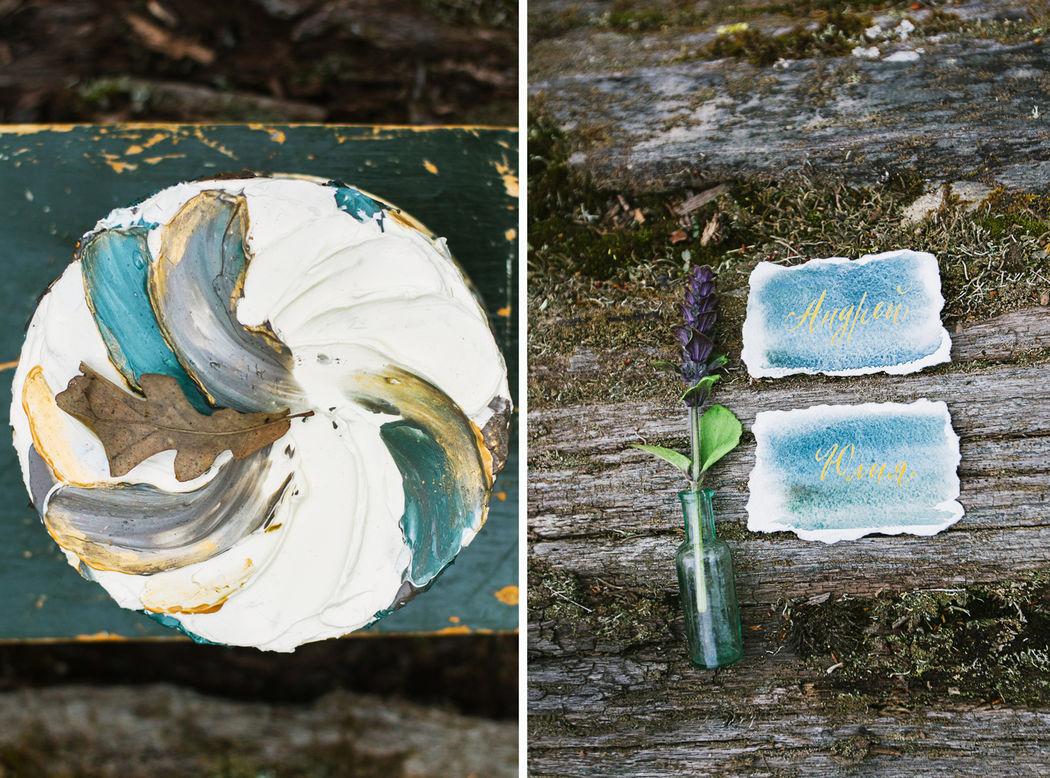 Лесной торт в акварельном декоре, внутри конечно