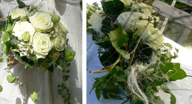 Beispiel: Brautstrauß und Autogesteck in weiß, Foto: Hadrigan Blumen Ambiente.