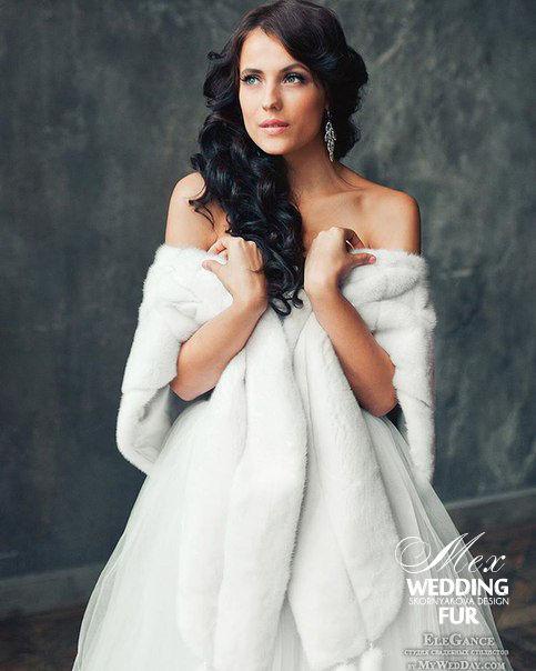 Свадебный белый меховой палантин из цельной норки купить