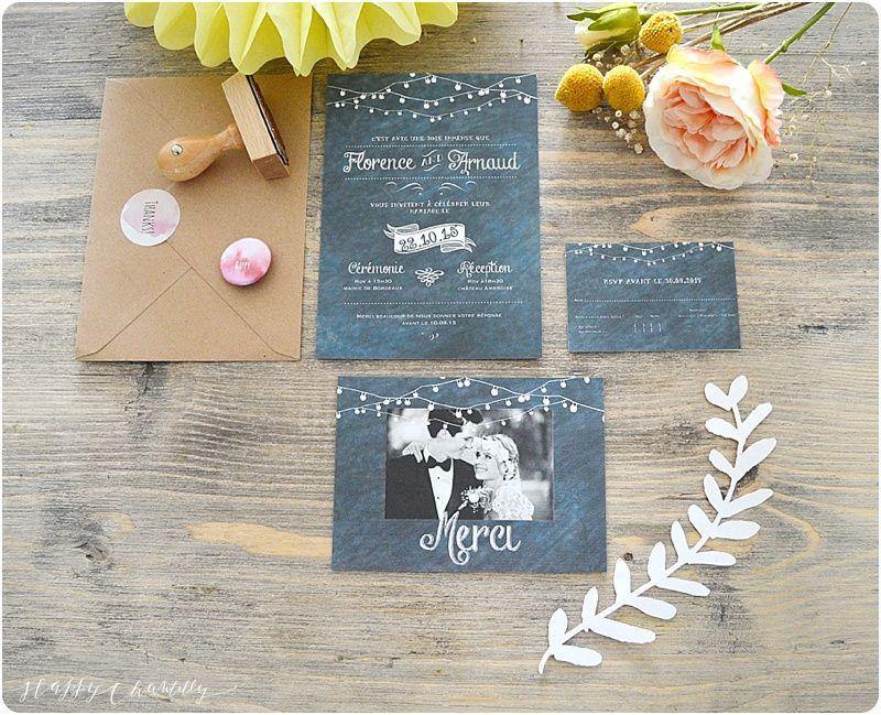 Faire-part mariage ardoise vintage Moderne et original  Happy Chantilly