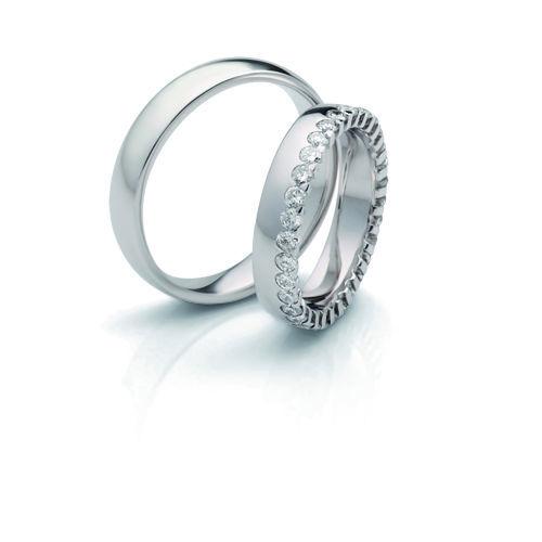 Beispiel: Trauringe - Weissgold, Foto: Designer Diamonds München.