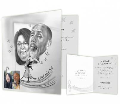 Beispiel: Einladungskarte mit persönlichem Portrait in Schwarz-Weiß, Foto: Hochzeitskarten-Traum.