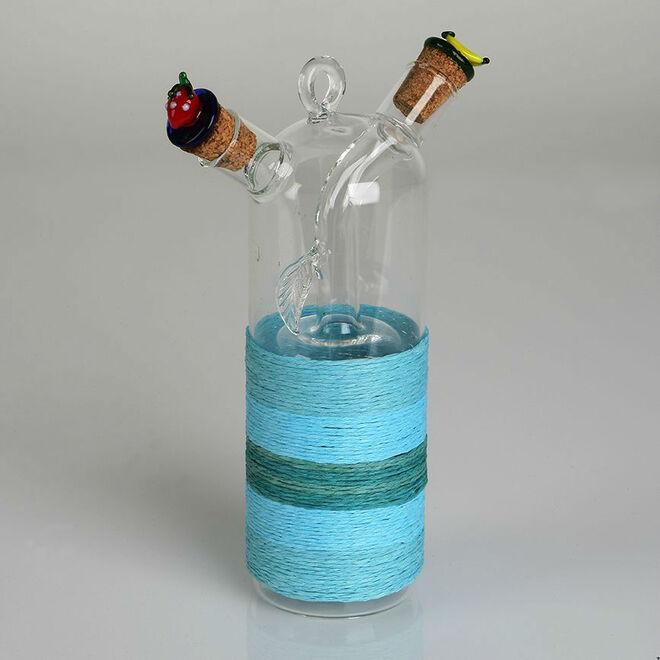 Detalles de boda, vinagrera y aceitera de cristal azul