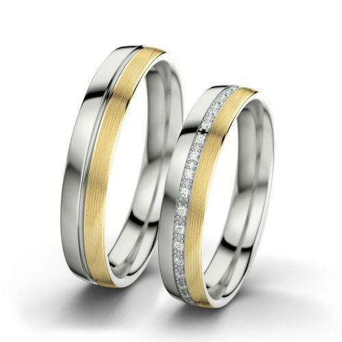 Beispiel: Letizia & Philippe - Gelbgold (laengsmatt), Weißgold (poliert), Foto: 21 Diamonds.