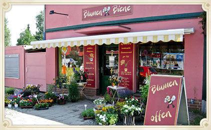 Beispiel: Ladengeschäft in Berlin, Foto: Blumen Biene.