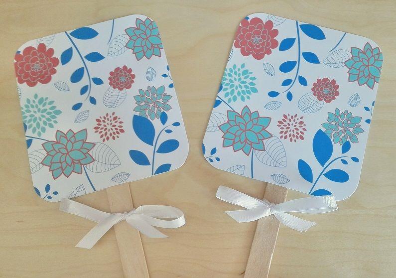 Paypays (abanicos) Motivo: Flores Color: Azul y Rosa