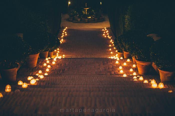 Entrada jardines noche