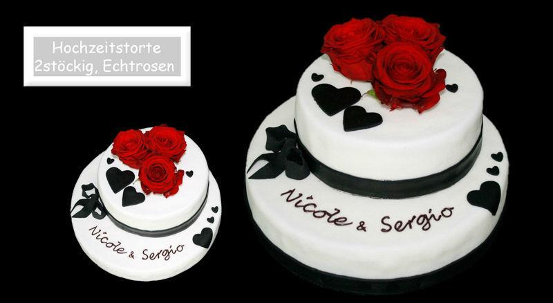Beispiel: Romantische Hochzeitstorten, Foto: Partytorten.ch.