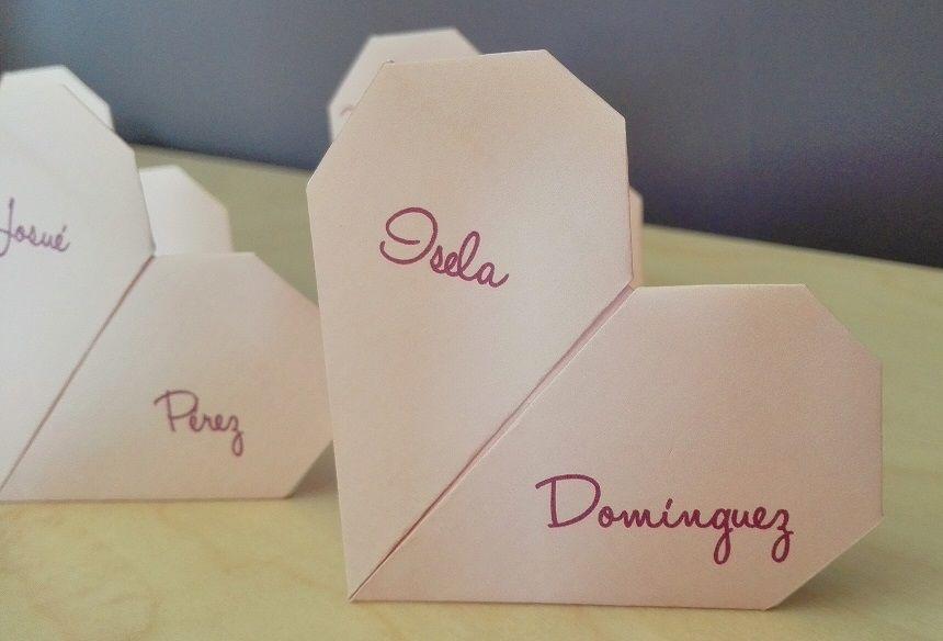 Marcadores de Sitio (Seating Plan) Corazón de Origami (personalizo color)