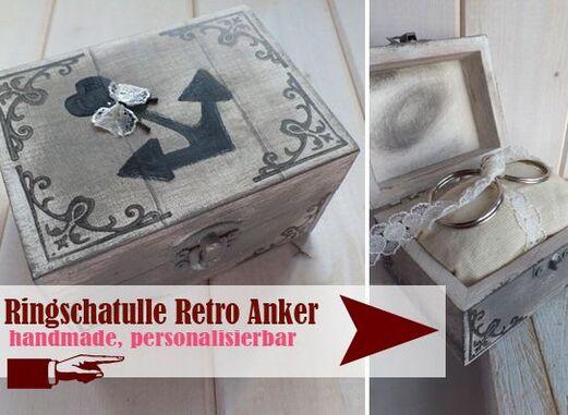 Retro Ringkästchen mit Anker Motiv - Handmade - LoveLi Hochzeitsplanung Onlineshop