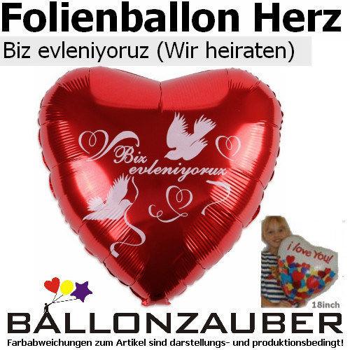 Beispiel: Herzballon mit Tauben, Foto: Ballonzauber. ...nur ein Beispiel von über 100 möglichen Designs....