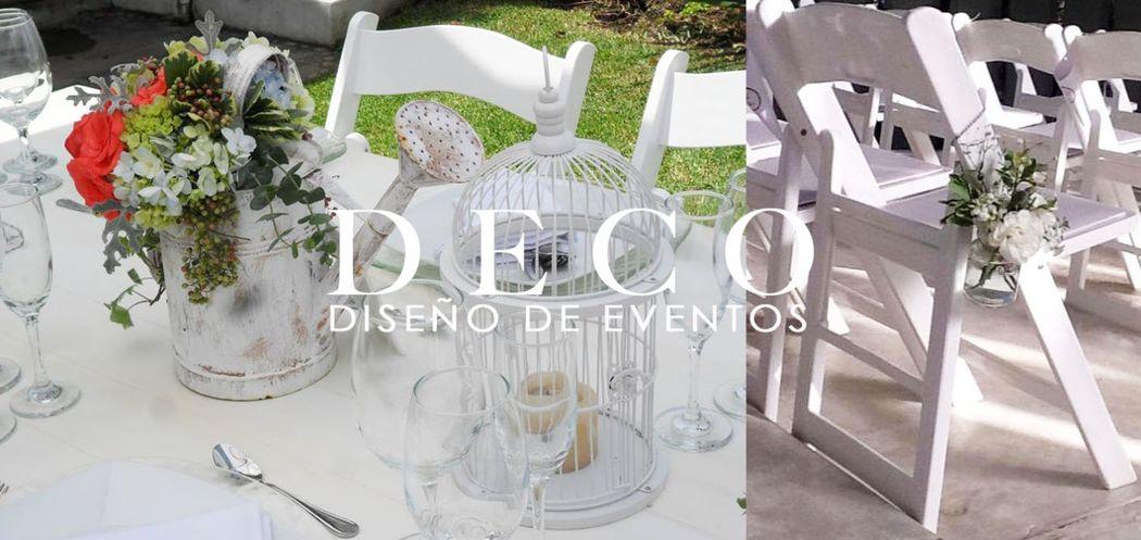 Centro de mesa bajo (izq.) Atado en silla  para ceremonia religiosa (der.) por DECO diseño de eventos