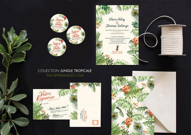 Mariage Exotique, thème Jungle tropicale, Pepper & Joy. Faire-part moderne et originaux décorées de feuilles et fleurs tropicales. Motif ananas et plumes de paon. Le studio Pepper and Joy personnalise les couleurs gratuitement.