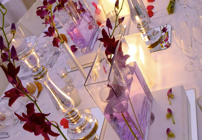 Good Moon - Rose fuschia avec vases Led