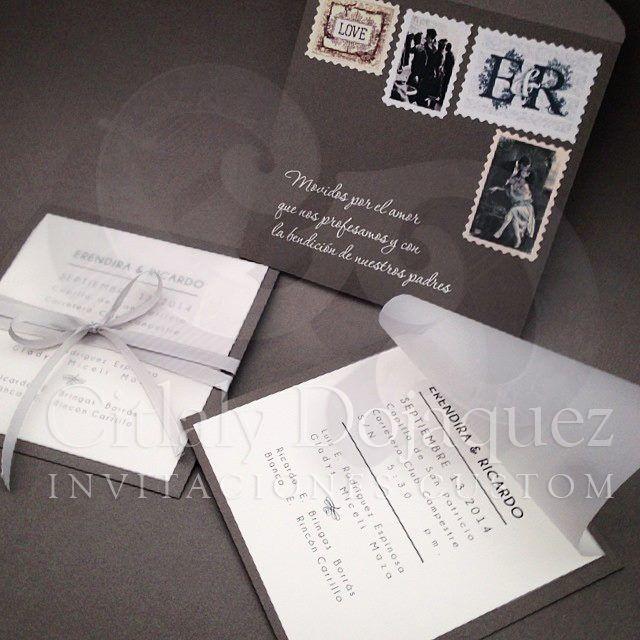 Invitación Vintage style  super trendy, incluye pases y etiquetas personalizadas con el nombre de los invitados.