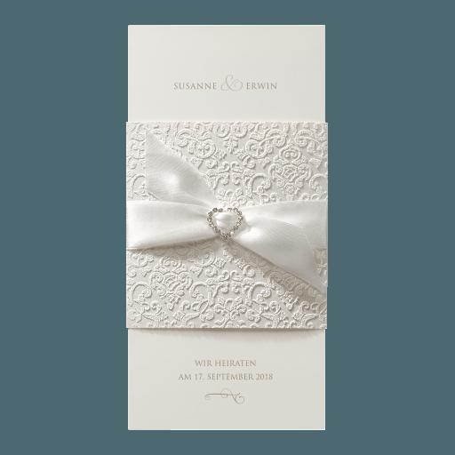 Belarto-Hochzeitseinladungskarte im Flockprint und mit Glitzerherz