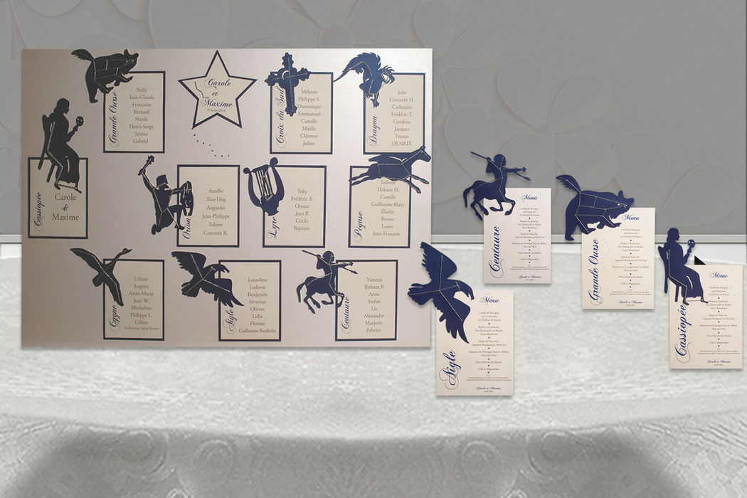 Plan de table et menus Constellation