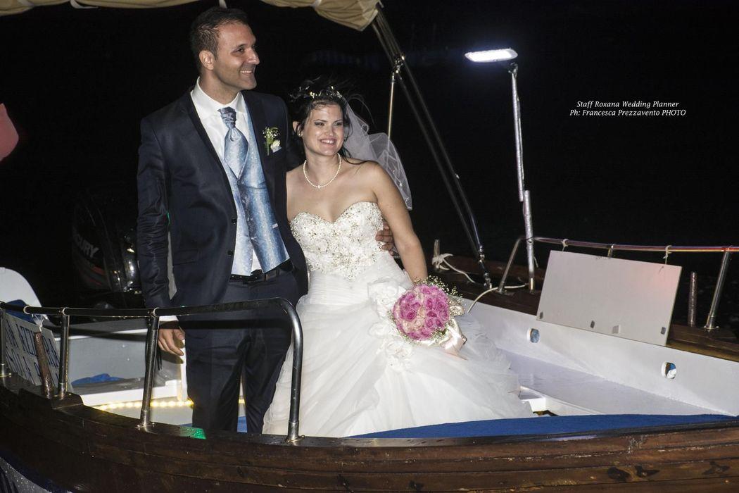 Bettina e Domenico arrivo in barca Atlantis Bay