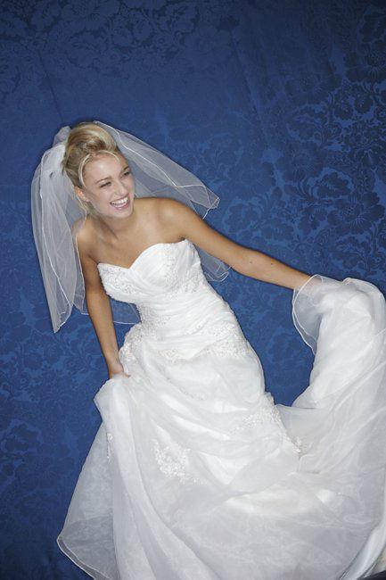 Beispiel: Besticktes Brautkleid mit Schleier, Foto: Lia Brautmoden.