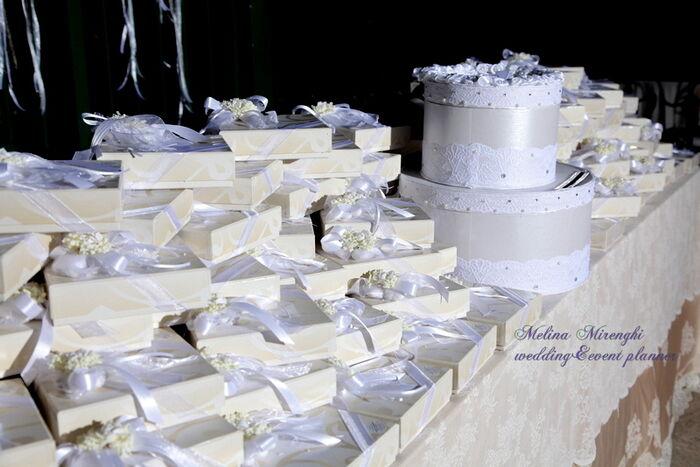 tavolo delle bomboniere con scatola portabuste