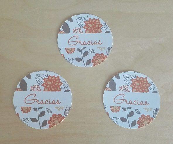 Etiquetas de agradecimiento Motivo: Flores Color: Naranja y Gris